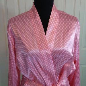 Adonna Intimates & Sleepwear - Adonna Coral White Dot Kimono Robe